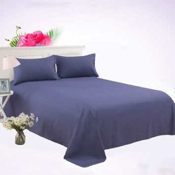 Cotton 3 Piece Solid Flat Sheet Bed Sheet Bed Cover Bedsheet Black White Grey Solid Color Soft Bedding Bedspreads