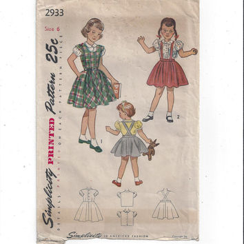 1940s Vintage Simplicity 2933 Pattern for Girls' Jumper, Skirt, Blouse, Size 6, UNCUT, Vintage Pattern, Home Sewing, 1940s Girls' Fashion