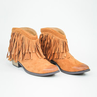 All About Fringe Bootie in Rust
