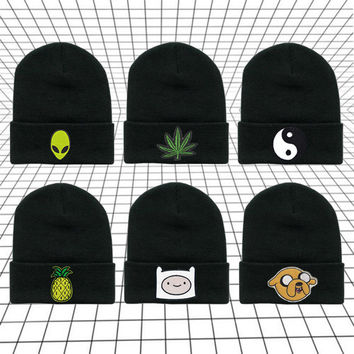 Beanie Hat | Weed Marijuana Alien Ying Yang Adventure Time Pineapple Tumblr Cute Cool Kawaii Black Winter *ON SALE*
