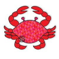 Red Crab Car Decal - Colorful Geometric Triangle Pattern Red Pink Beach Cute Car Decal Laptop Decal Wall Decal Bumper Sticker Ocean Nautical