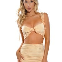 Claire Light Honey Front Tie Silk Jersey Crop Top