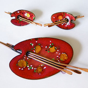 Matisse Brooch pin, earrings set. Artist Palette.  Enameled. paint brush. Renoir