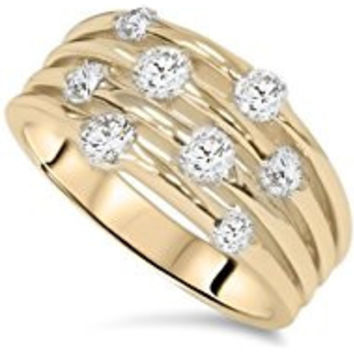 257 1ct Yellow Gold Real Diamond 14K Right Hand Ring