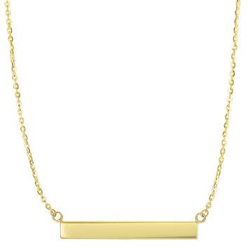 14K Yellow Gold Engravable Bar Sideways Pendant On 18 Inch Necklace