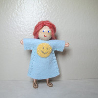 Girl Bendy Doll, Sunny Happy Face, Blue Dress with Sun, by Bendy Heaven, Dollhouse Doll, Pocket/Worry