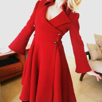 Cherry red victorian wool coat cocktail coat by angelikaliv