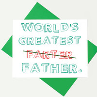 Funny Father's Day Card - Card For Dad - Fathers Day Card - Worlds Greatest Farter - Funny Dad Card - Dad Birthday Card
