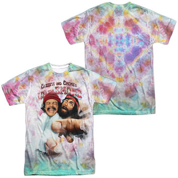 CHEECH & CHONG/FRIED TIE DYED (FRONT/BACK PRINT) -  S/S ADULT 100% POLY CREW - WHITE -