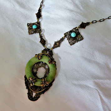 Vintage Czech Celluloid Jade and Peking Glass Necklace Ornate circa 1920s