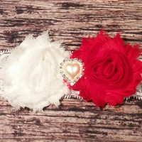 Red and White Shabby and Pearl Rhinestone Heart Lace Headband!