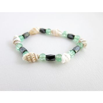 Conch Shells & Crackle Glass - Faceted Hematite Magnetic Beads - Beach - Conch Shell , Beaded Bracelet - Stretch Bracelet - Green Glass