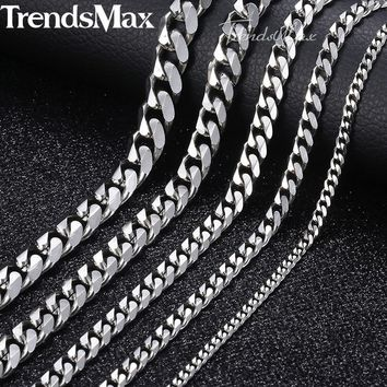 3-9mm Men's Stainless Steel Cuban Link Chain Necklace Gold Black Silver Chain 45-60cm 2018 Fashion Long Necklaces for Men KNM07+