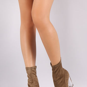 Liliana Suede Pointy Toe Chunky Lucite Heeled Ankle Boots