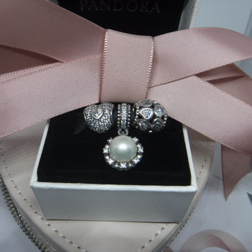 Pandora Charms Authentic Cultured Pearl Dangle and Hearts Three Charm gift Set