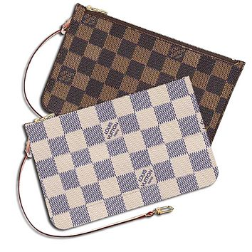 LV Trending Women Girls Louis Vuitton Coin purse Wrist Bag Cute Wallet B White