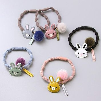 Girls Cute Cartoon Alloy Rabbit Ball Elastic Hair Bands Hair Ornament Hair Ropes Rubber Band Headbands Children Hair Accessories