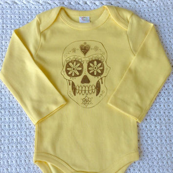 Organic Baby Clothes,  Boho, Sugar Skull, Baby Clothes, Fall, Baby Girl, Original Gift, Baby Gift, Yellow, Fair Trade Certified,
