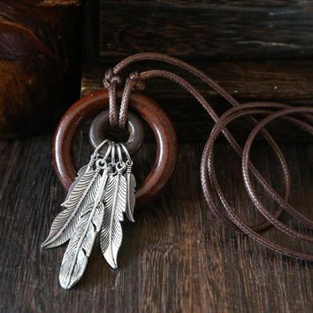 Leaf Feather Circle Wooden Pendant Necklace