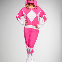 Pink Power Ranger Hooded Adult One Piece Pajama