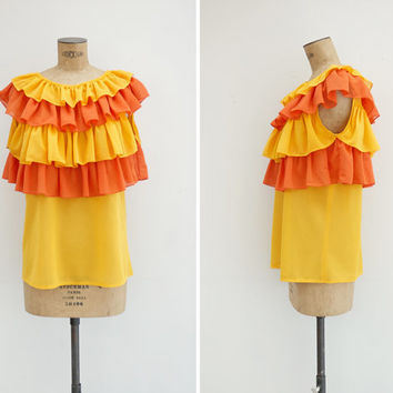 1960s Top - Vintage 60s Orange Yellow Ruffle Blouse - Samba Top