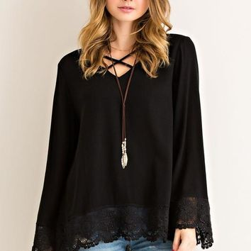 Lace Bottom Tunic Top - Black