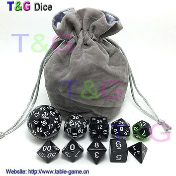 10pcs Digital Dice Set with Bag T&G High quality 3 Colors d4 d6 d8 2xd10 d12 d20 d24 d30 d60 for dnd RPG Playing Game Dice
