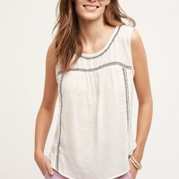 Velvet by Graham and Spencer Embroidered Forada Tank in Ivory Size: