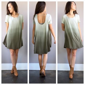 An Olive Stone Ombre Flowy Sleeved Dress