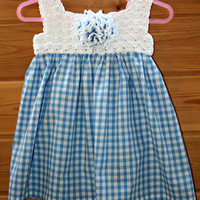 Adorable, baby crochet dress, baby clothes, crochet baby dresses, spring, summer, blue gingham skirt, white crochet bodice, gifts, 3 -6m