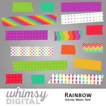 Rainbow Digital Washi Tape Clip Art with Stripes, Waves, Diamonds, Stars, Polka Dots, and Checkers in Red, Orange, Yellow, Teal, and Purple