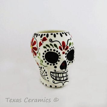 Ceramic Sugar Skull Cup Original Folk Art Day of The Dead Design