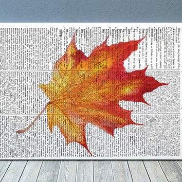 Leaf print Dictionary art Fall leaf poster Autumn print RTA1889