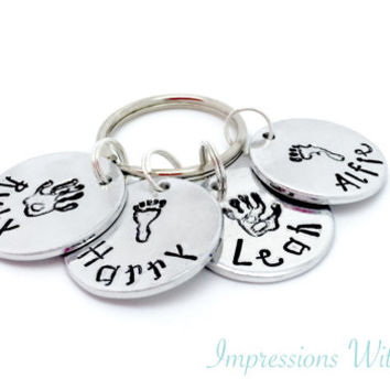 parent child keepsake - hand stamped keychain - keyring - personalised - handprint - footprint childrens names - Father's Day/ Mother's Day