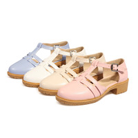 T Straps Women Flat Shoes Plus Size