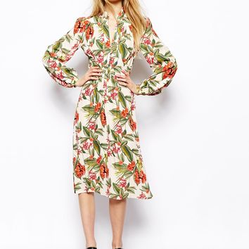 ASOS Midi Dress In Tropical Floral Print