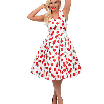 White & Red Sleeveless Cherry Print Misses Swing Dress