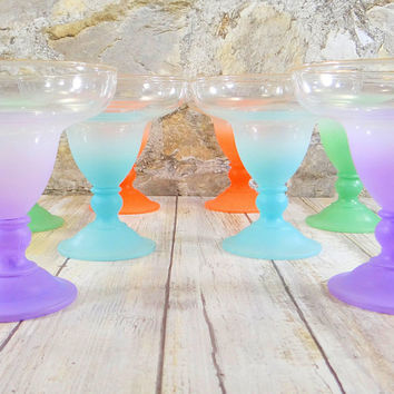 Vintage Blendo Cocktail Glasses, Martini Glasses, Margarita Glasses, Frosted Ombré Color