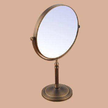 Antique Brushed Brass Desktop Double Side 8 Inch Mirror Shave Makeup 3x Magnifying Mirror Bathroom Bedroom Hardware Accessories
