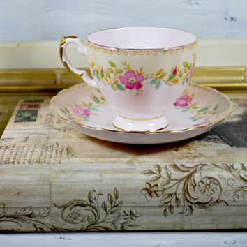 Pink Bone China Tea Cup and Saucer , Made in England Tea Set