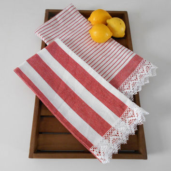 Tea Towels Set of 2, Red Striped Kitchen Towels, Shabby Chic Towels, Lace Towels, Cottage Kitchen Decor, Cotton Towels, Country Home Decor