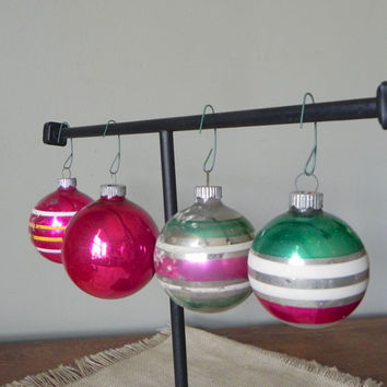 Vintage mercury glass striped christmas balls ornaments red silver green white stripes glittery glitter four shiny brute