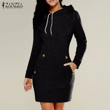 ZANZEA Women 2017 Oversized Casual Solid Dress Female Long Sleeve Hooded Pockets Mini Dresses Vestidos Plus Size Long Pullovers