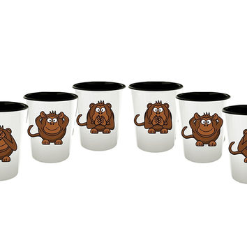 Monkey Shot Glass - See No Evil Monkeys- Funny Set of 6