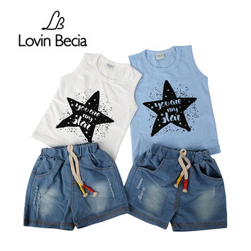 LOVIN BECIA  Summer Casual boys girls clothing set star vest clothes + jeans pants children suit baby outfits kids clothes