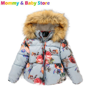 Puffer Jacket For Girl 2-8 years Hooded Faxd Fur Collar Kids Outerwear Flower Printed Coat Children Winter Clothing Girl C