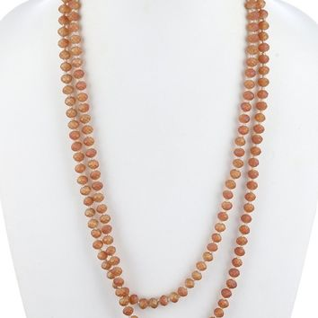 Garnet Natural Stone Extra Long Bead Necklace