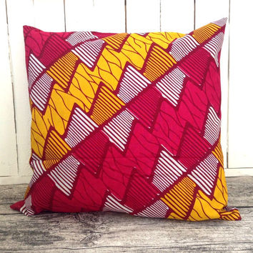 Pink and Yellow African Cushion pillow cover, African wax print, Scatter cushion, Throw pillow  (17 inch) decorative pillow