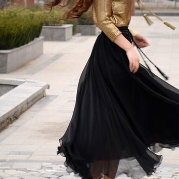 Women's Black Silk Chiffon Maxi Skirt