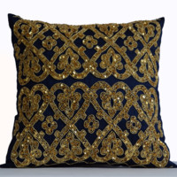 Navy Throw Pillow Cover with Exquisite Gold Sequin Beads Embroidery